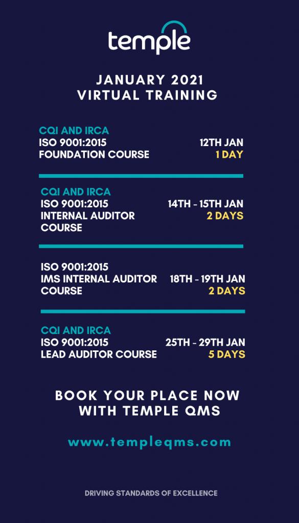 January 2021 Training Dates